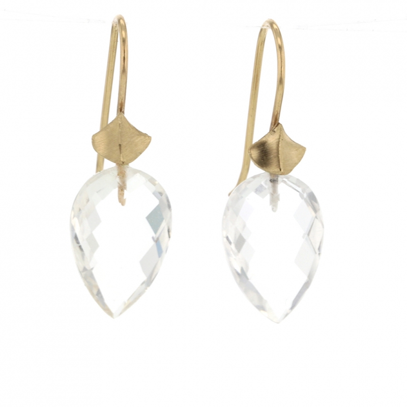 Large Rock Crystal Simple Bug Earrings