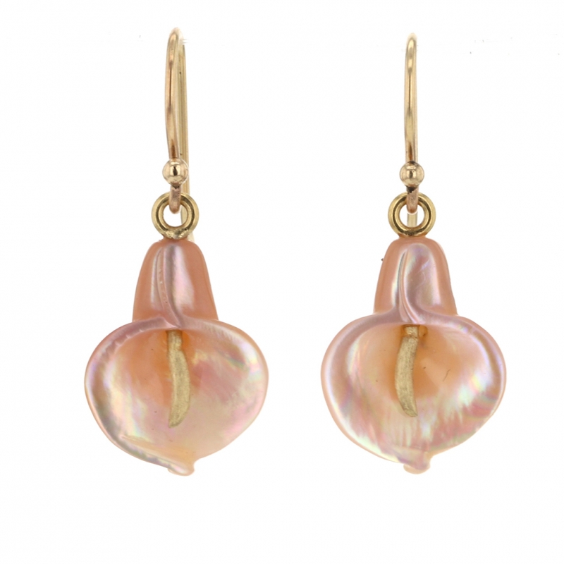 Pink Mother of Pearl Cala Lilly Earrings
