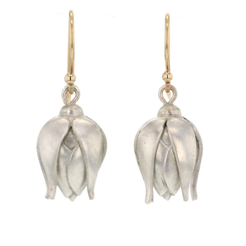 Silver Rose Bud Drop Earrings