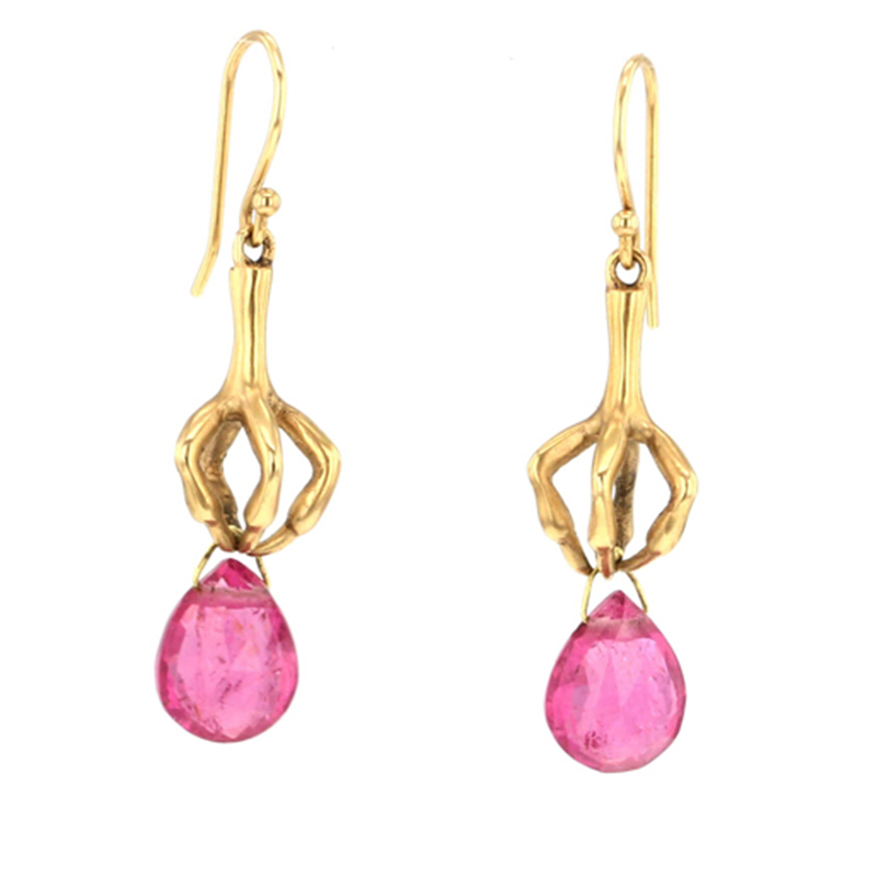 Gold Claw Earrings with Rubellite Drops