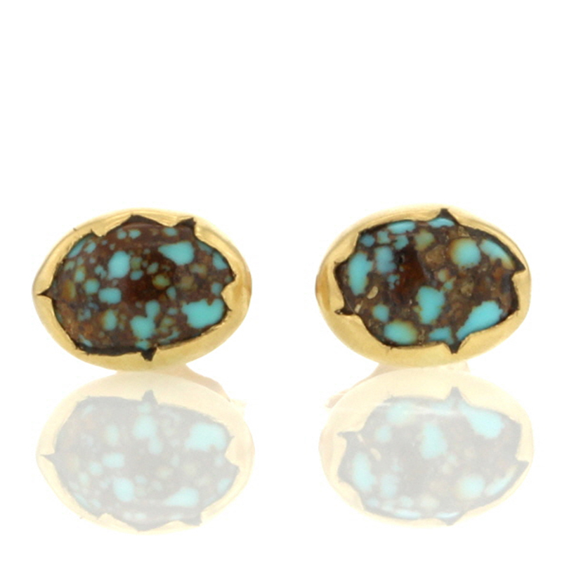 Turquoise Egg Gold Stud Earrings