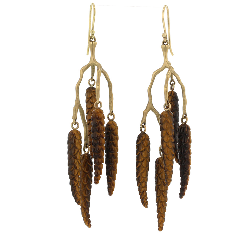 Birch Tigers Eye Cluster Earrings