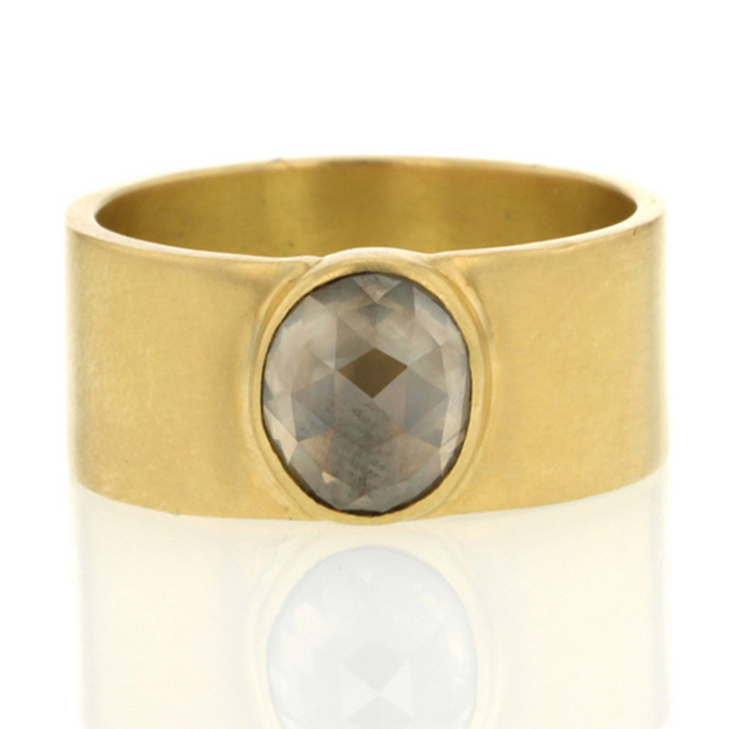 Oval Smokey Rose Cut Diamond Cigar Band Ring