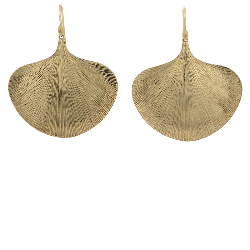 Large Ginko Leaf Gold Earrings