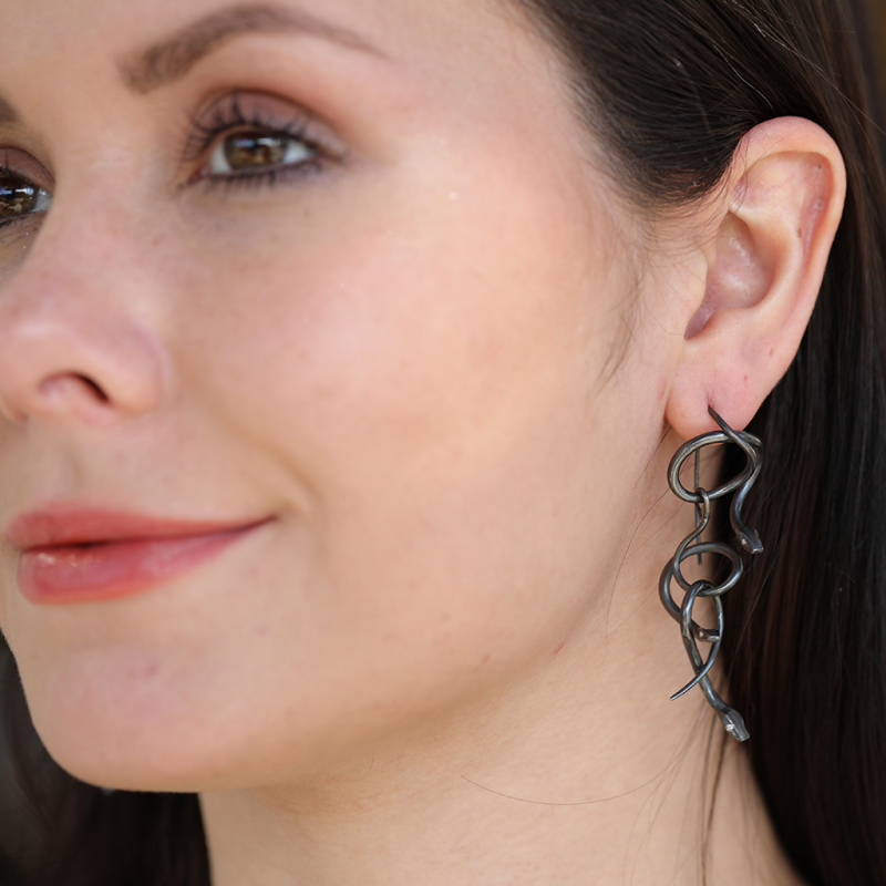 Serpent Chandelier Earrings in Oxidized Silver with Diamond Eyes