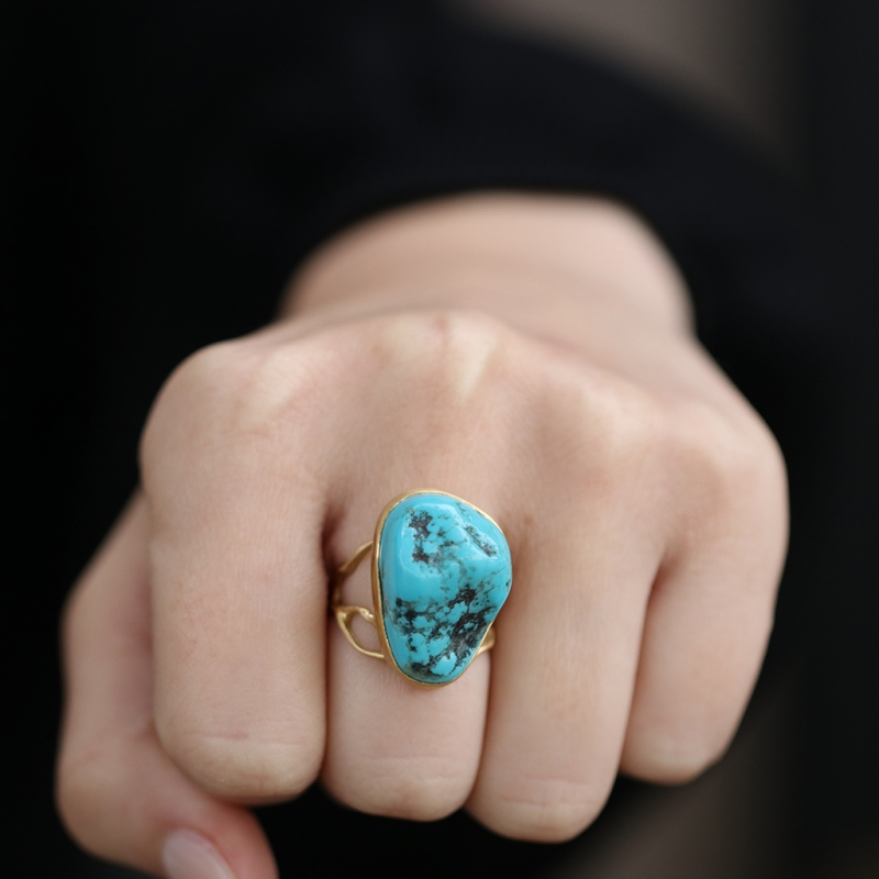 Unique Turquoise Branch 18k Gold Ring