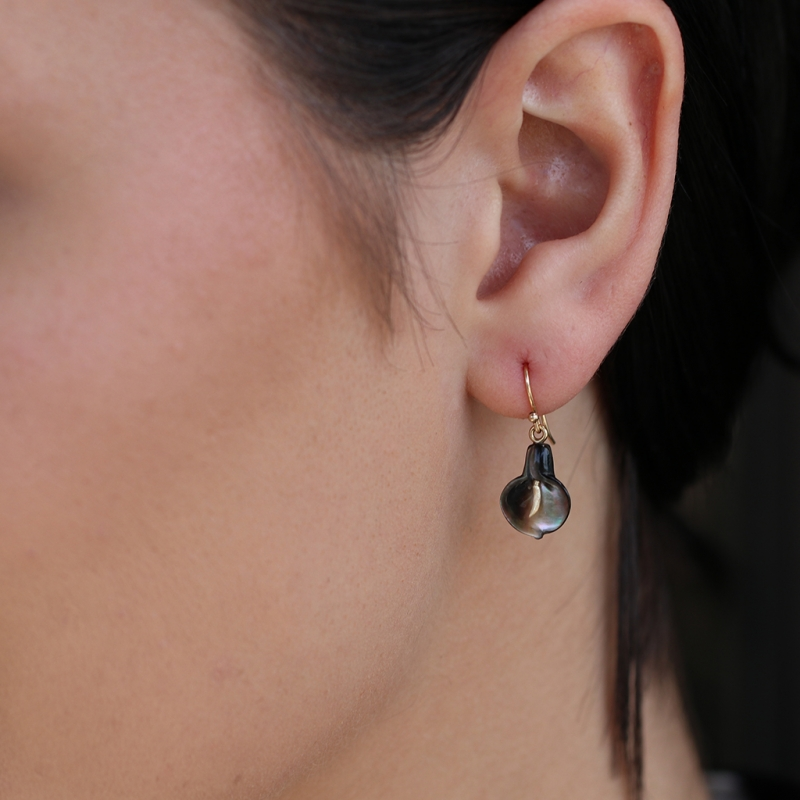 Black Mother of Pearl Calla Lily Earrings
