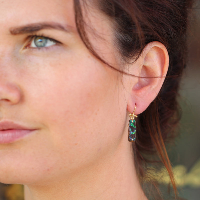 Mismatched Boulder Opal Earrings on Gold Branches