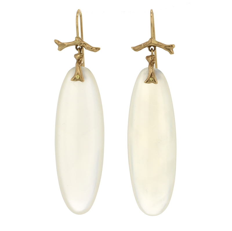 White Agate 10k Branch Earrings