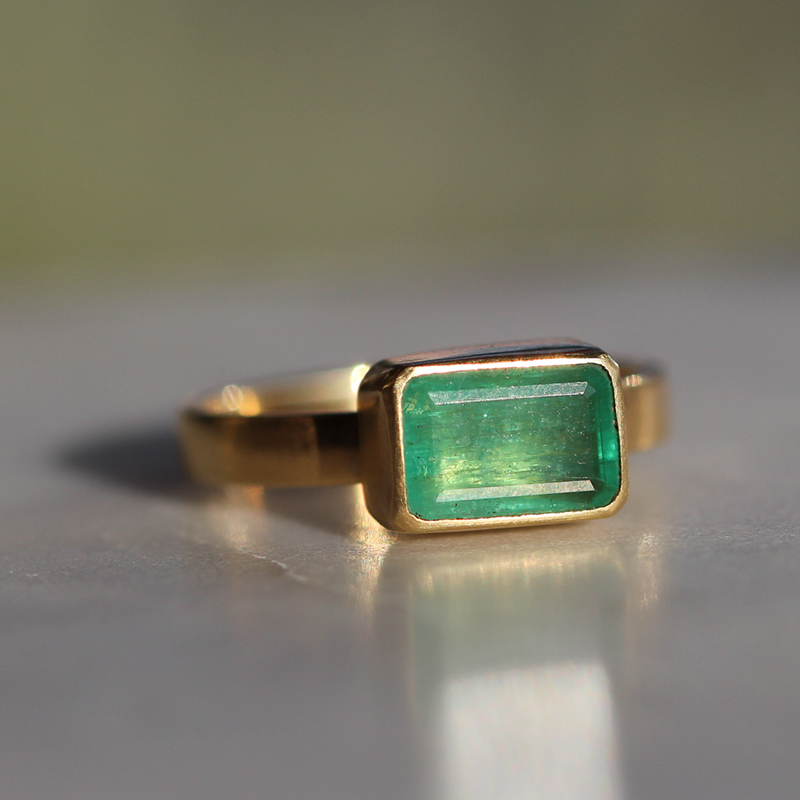 Gold Emerald Rectangle Ring