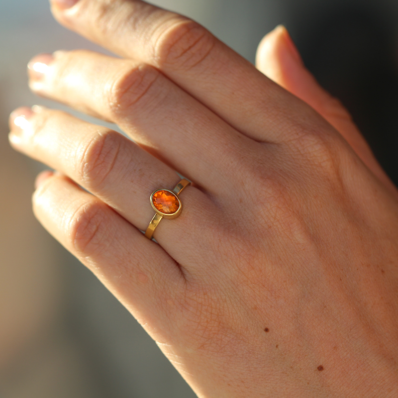 Gold Oval Fire Opal Ring