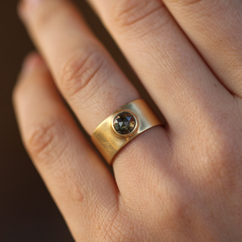 Round Smokey Rose Cut Diamond Cigar Band Ring