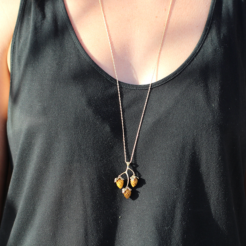 10k Tigers Eye Pine Cone Cluster Necklace
