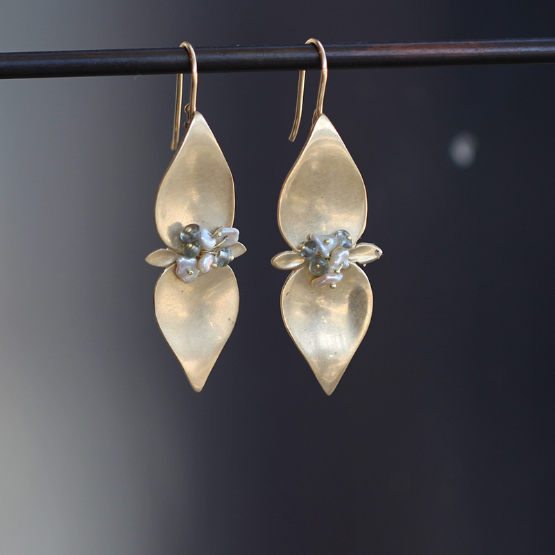 Large Mint Gold Earrings