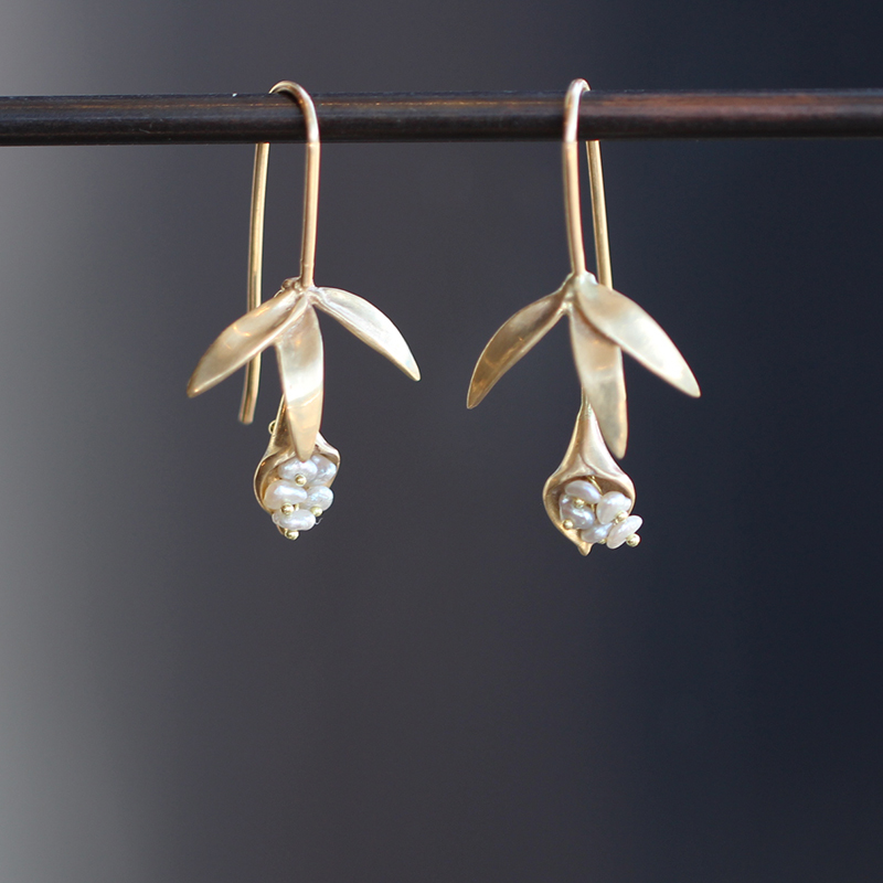 Small Wildflower Earrings with Pearls