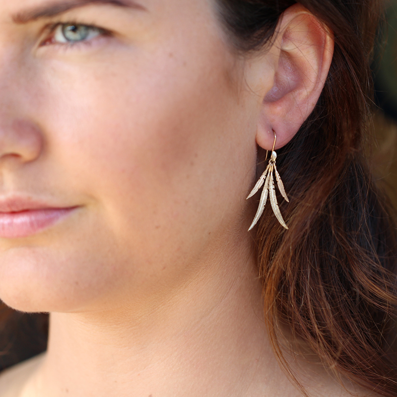 Small Feather Cluster Gold Earrings