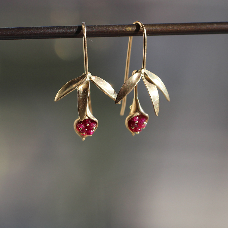 Small Wildflower Earrings with Rubies