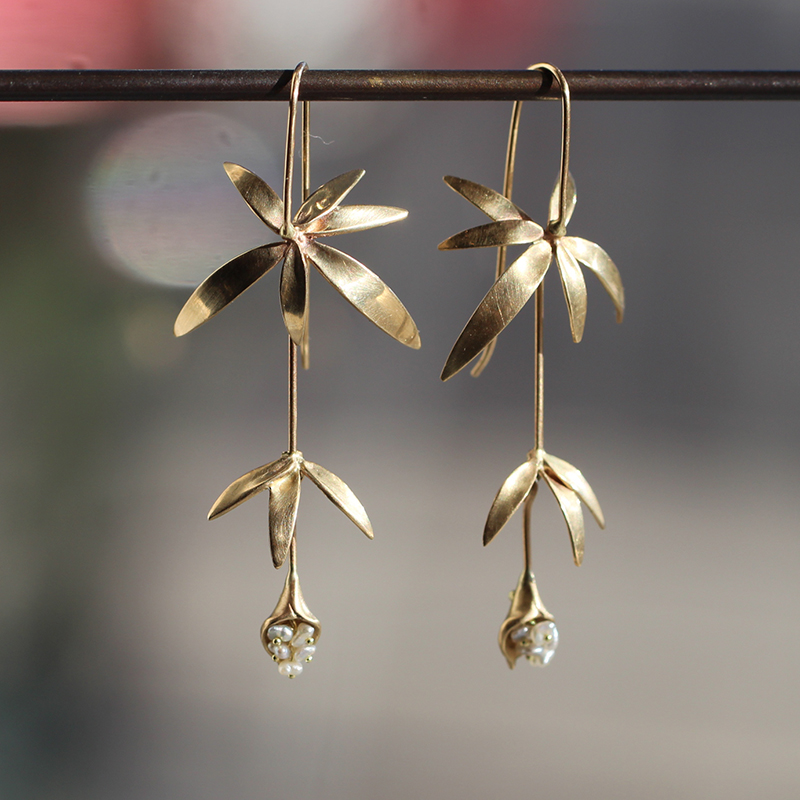 Long Wild Flower Earrings with Keishi Pearls