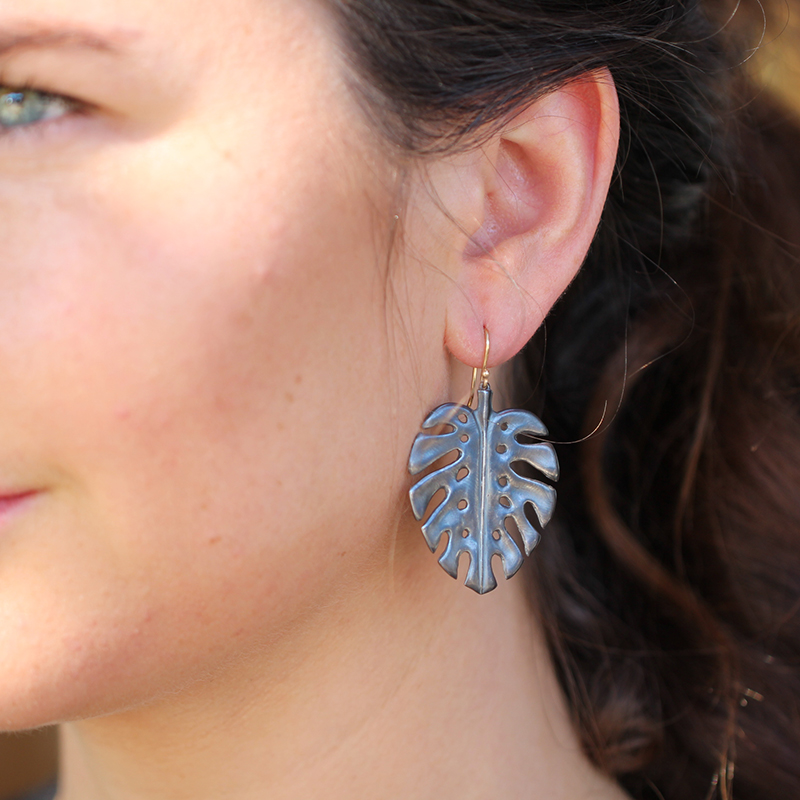 Large Blackened Silver Palm Leaf Earrings