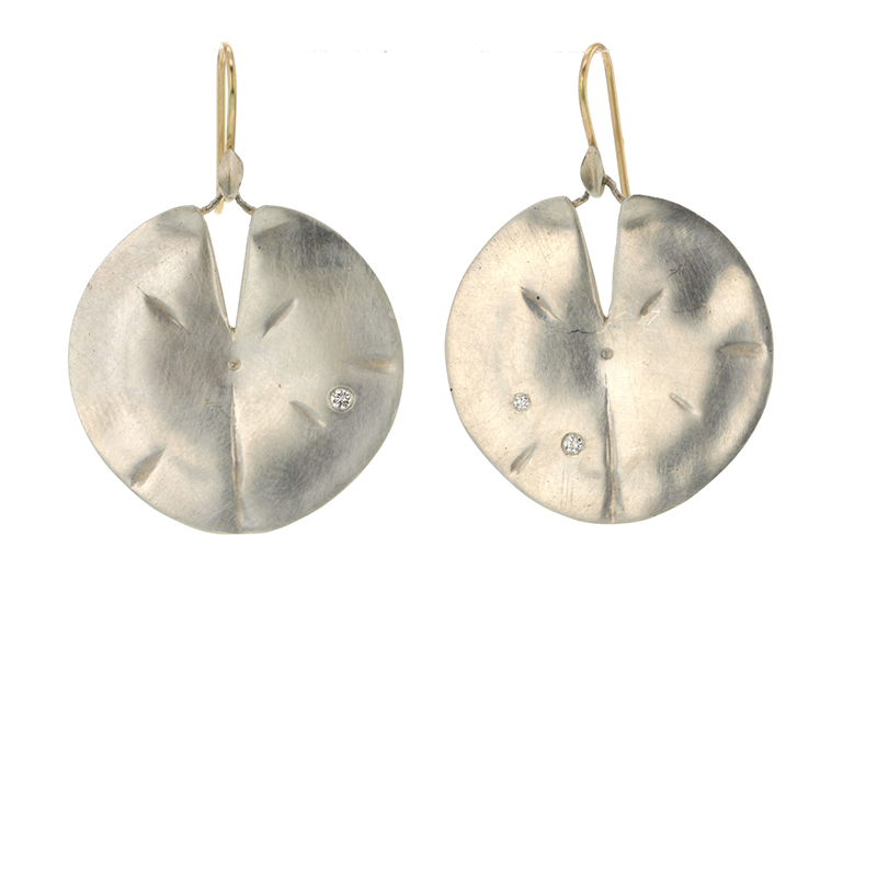 Large Silver Lilly Pad Earrings