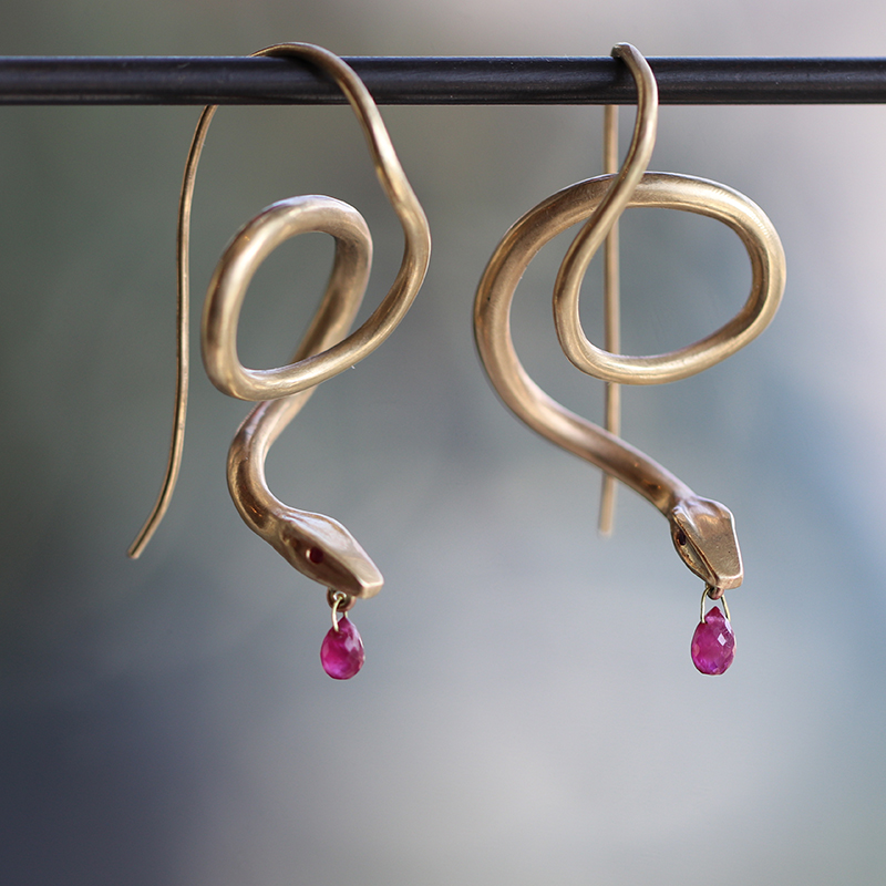 Ruby 14k Gold Serpent Earrings