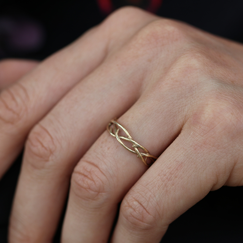 Woven Thorn Branch 14k Gold Ring