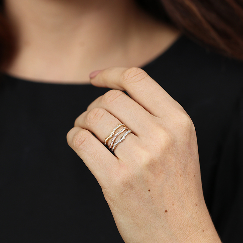 18k Rose Gold Coral Stick Pave Diamond Ring