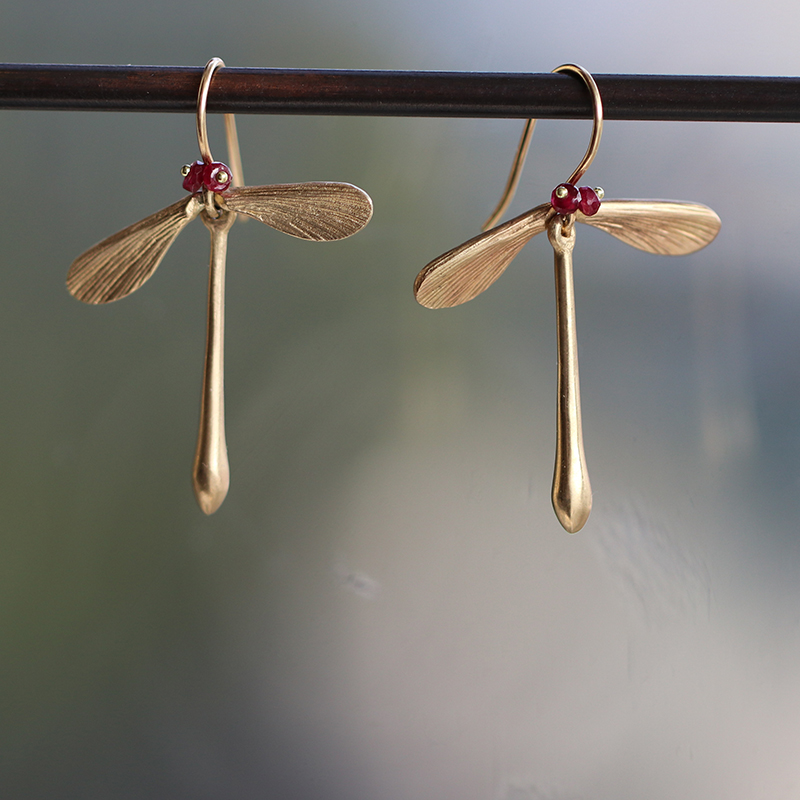 Ruby Jeweled Damselfly Earrings
