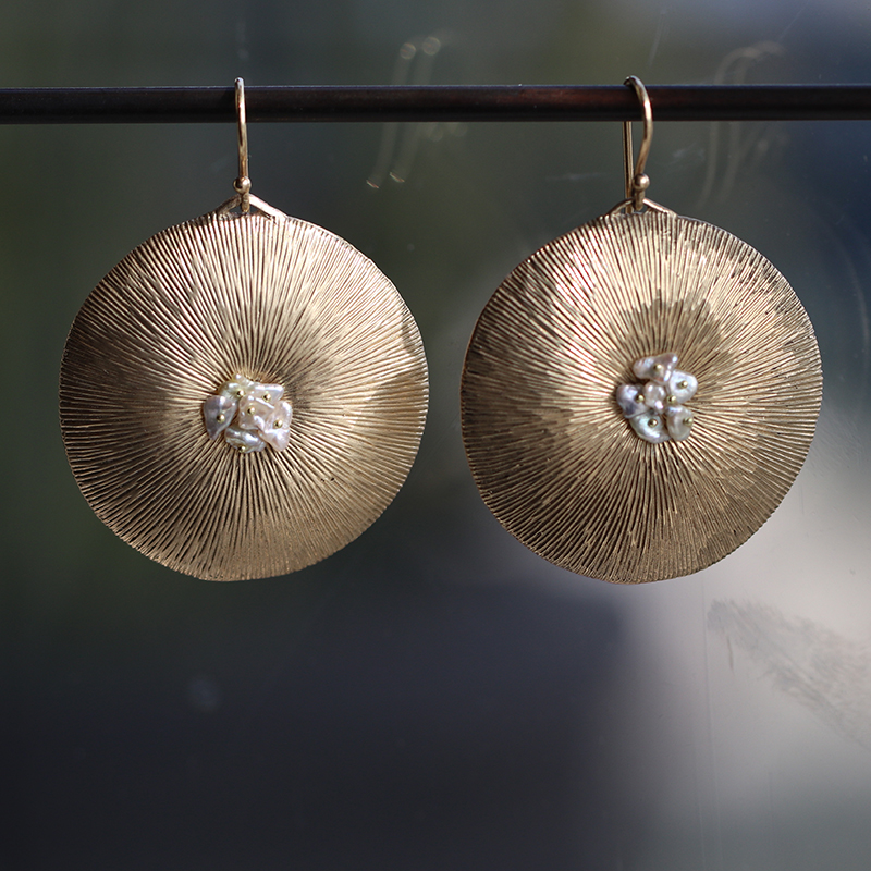 Large 10k Gold Dandelion with Pearl Earrings
