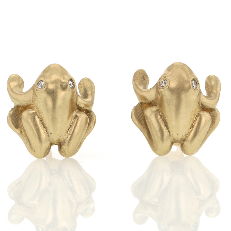 Gold and Diamond Frog Earrings