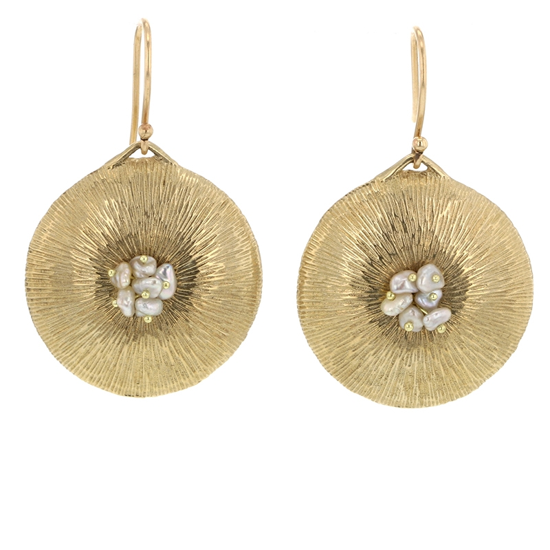 Small 10k Gold Dandelion with Pearl Earrings