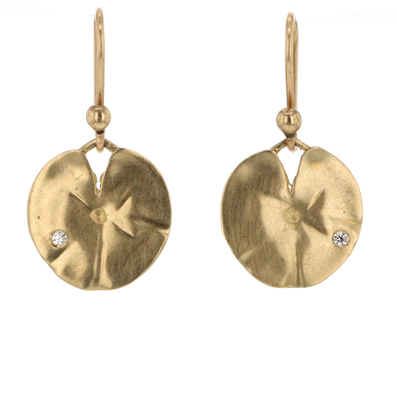 Small Lily Pad Gold Drop Earrings