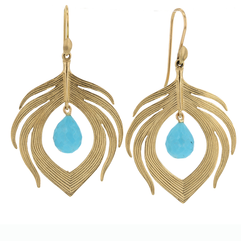 14k Gold Peacock Feather with Turquoise Earrings