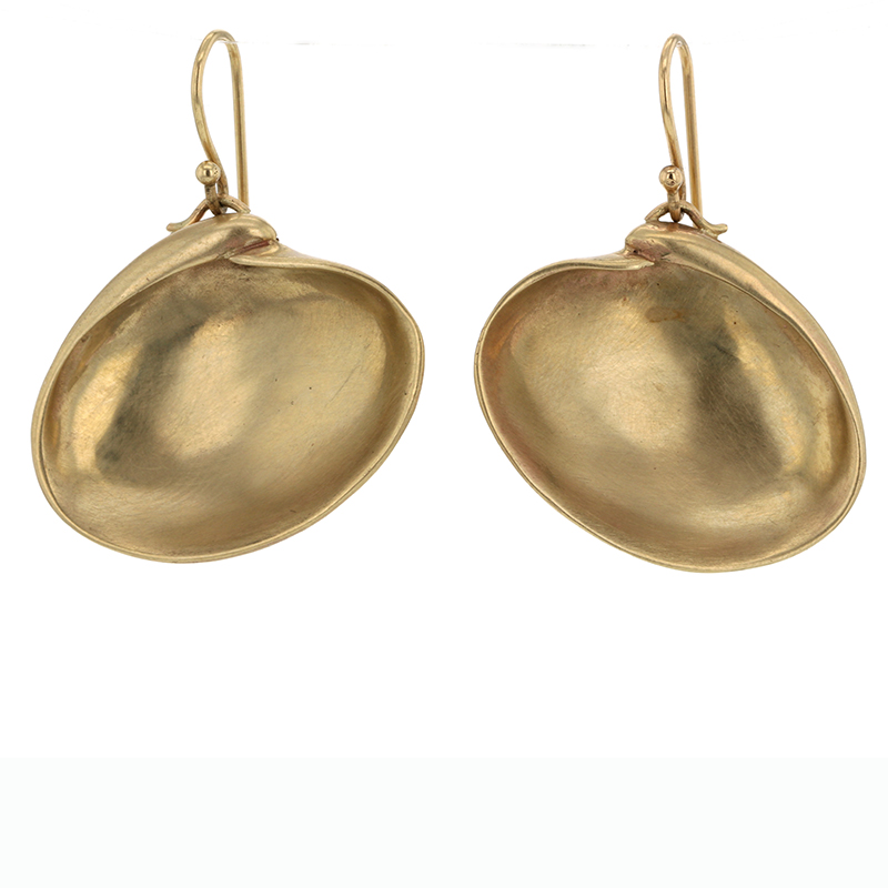 Large 10k Gold Clam Shell Gold Earrings