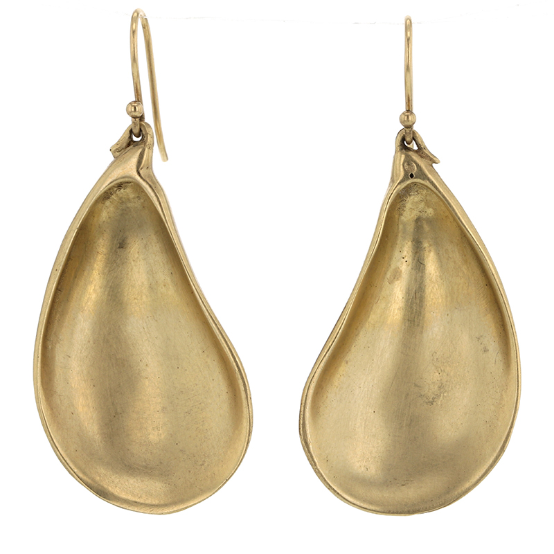 Large 10k Gold Mussel Shell Gold Earrings