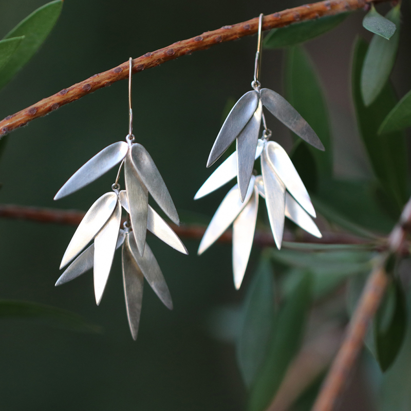 Silver Bamboo Cluster Earrings