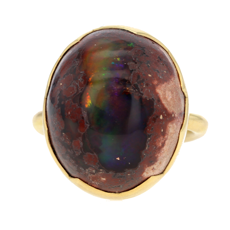 Mexican Matrix Opal Egg Gold Ring