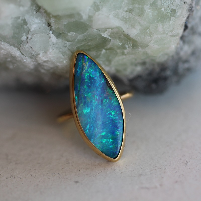 Boulder Opal Marquis Ring