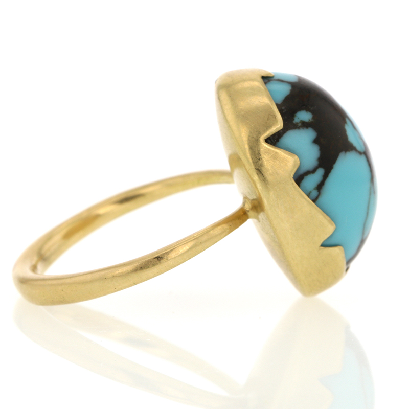 Turquoise 18k Yellow Gold Egg Ring