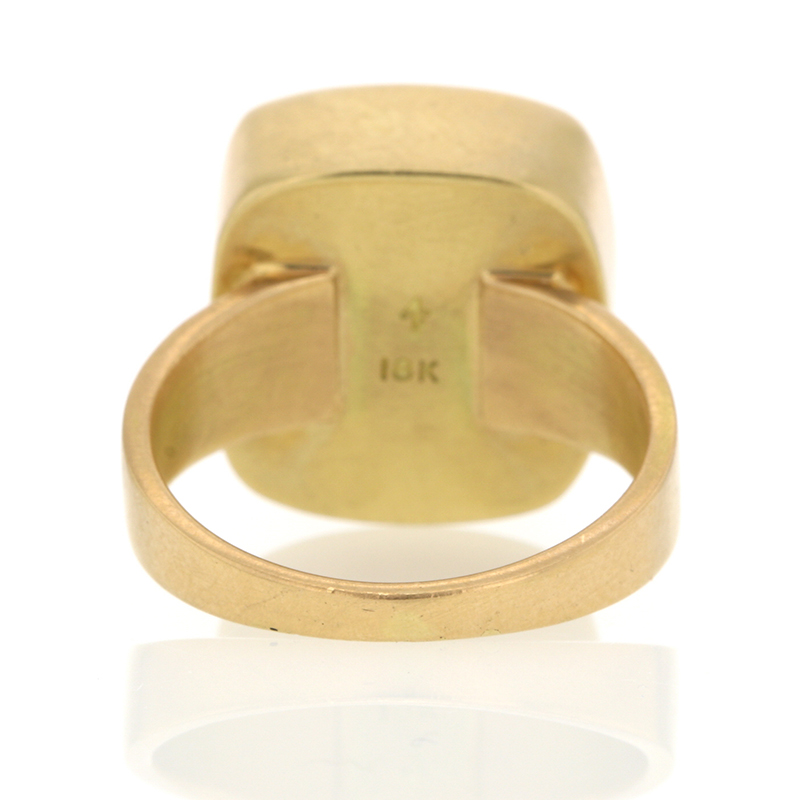 Rose Quartz Square 18k Gold Ring