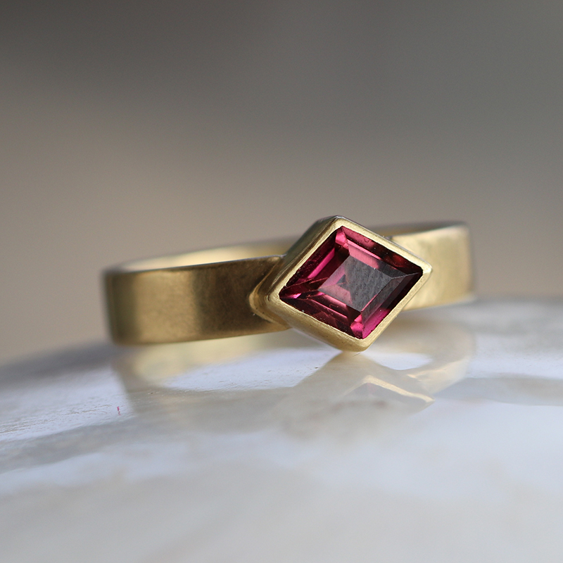 Diamond Shape Rhodochrosite Thin Cigar Band Ring