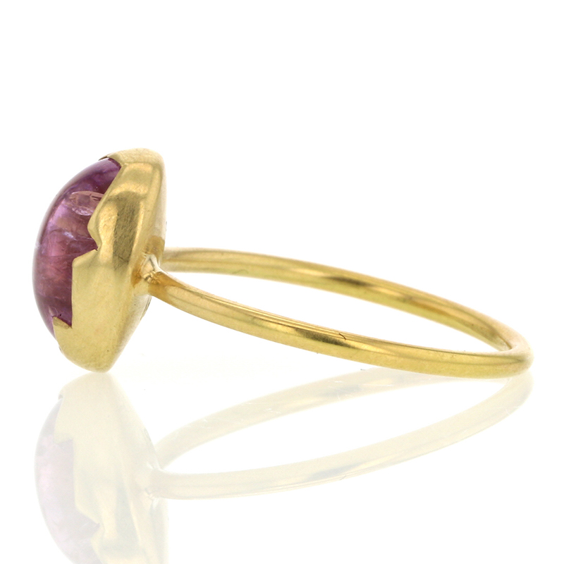 Pink Topaz 18k Gold Egg Ring