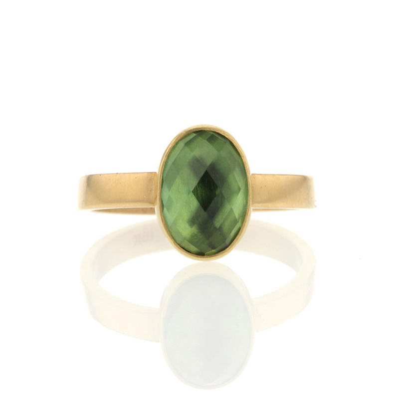 Green Tourmaline Faceted Gold Ring