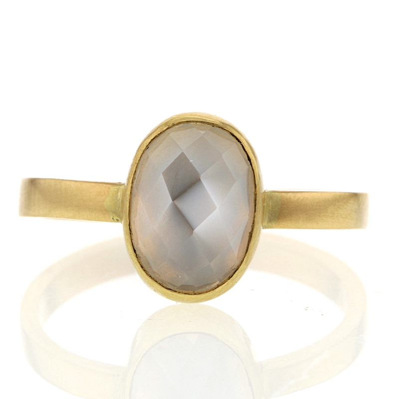 Gold Burmese Moonstone Ring