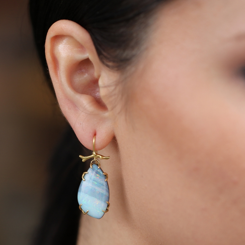 Boulder Opal 18k Gold Branch Drop Earrings