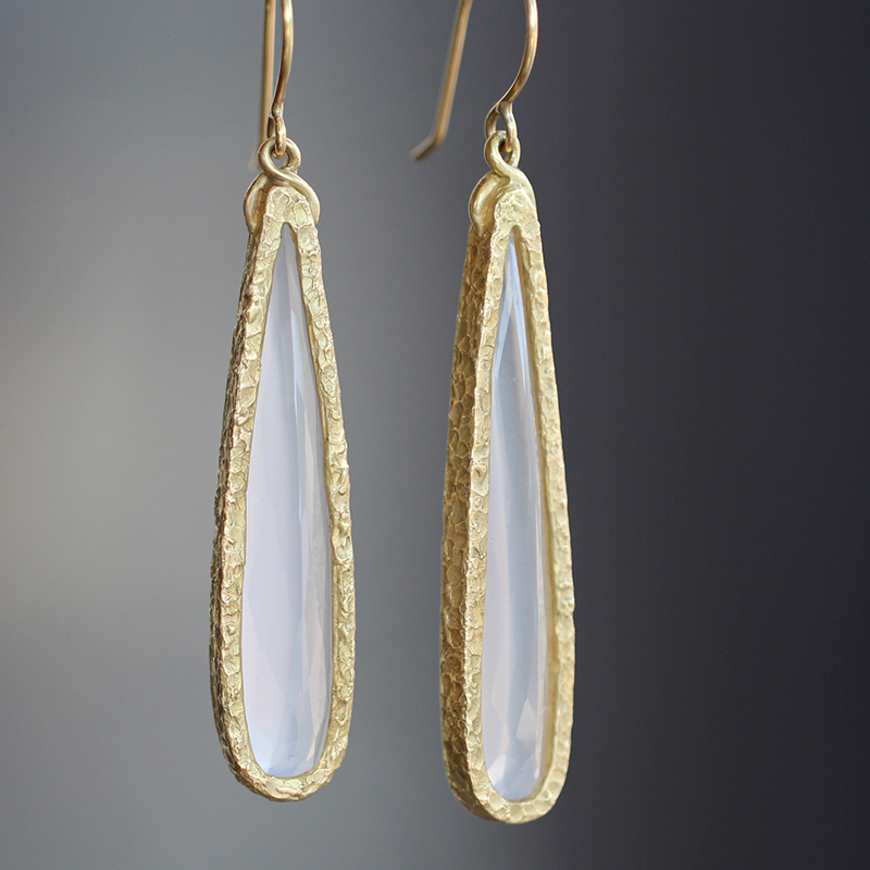 Milky Quartz Long Bezel Earrings