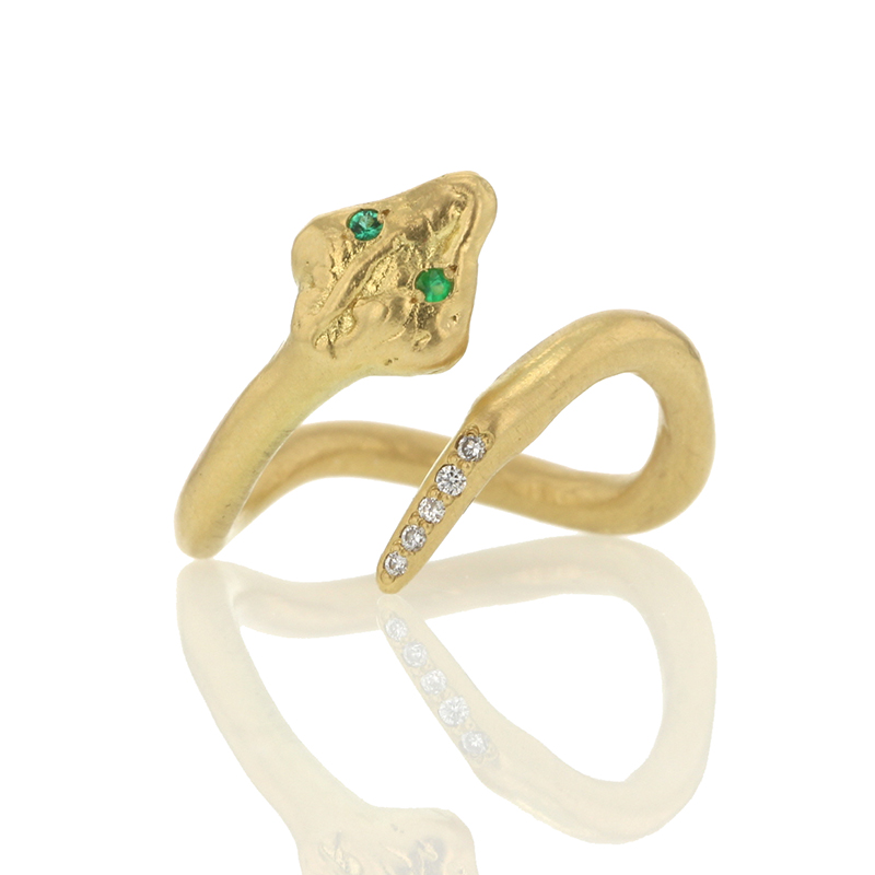 Gold Snake Ring with Emerald Eyes
