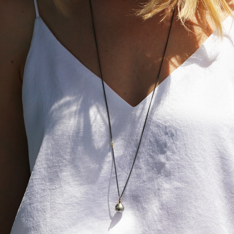 Tahitian Pearl Drop Long Necklace