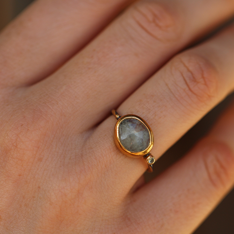 Raw Sapphire Mixed Metal Ring