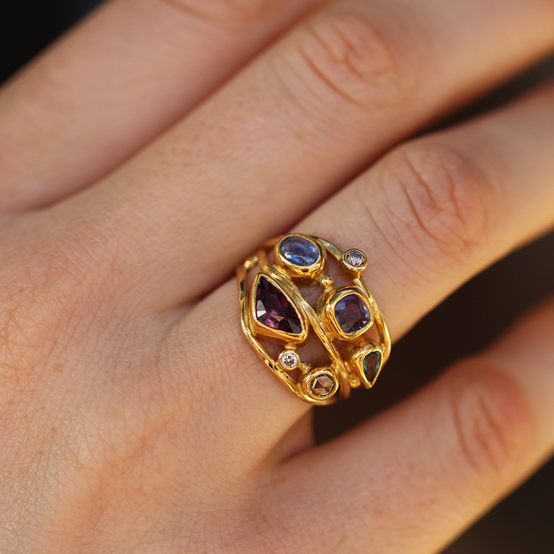 Mixed Gemstone Twisted Gold Ring